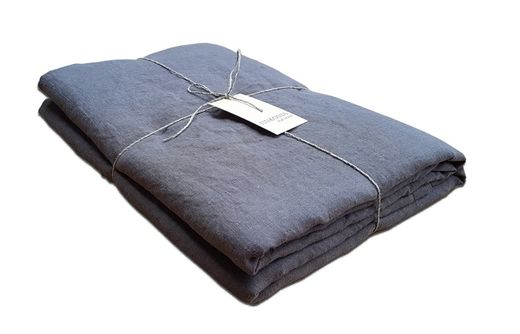 Stone Washed Linen Bed Sheet, Gray