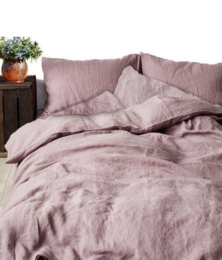 Stone Washed Linen Duvet Cover Set, Old Rose