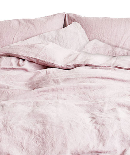 Stone Washed King Size Linen Duvet Cover Set, Old Rose